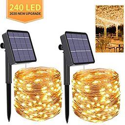 Solar String Lights,2-Pack Each 240 Solar Led String Lights,80 Ft Ultra Long Solar Christmas Ligh... | Amazon (US)