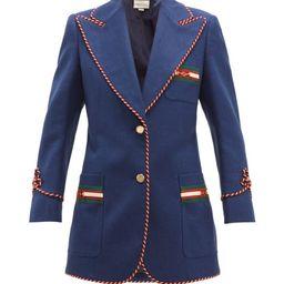 Gucci - Passementerie-trim Single-breasted Slubbed Blazer - Womens - Blue Multi   Matchesfashion (Global)