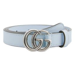 Women's Gucci Gg Buckle Skinny Leather Belt, Size 105 - Wild Rose/ Silver | Nordstrom