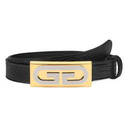 Women's Gucci G-Plaque Genuine Lizardskin Skinny Belt, Size 80 - Nero | Nordstrom