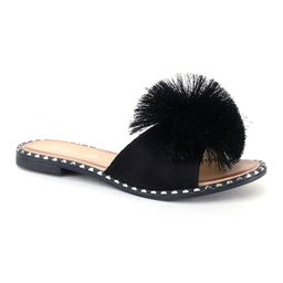 Bolaro Women's Sandals BLACK - Black Pom-Pom Sandal - Women | Zulily