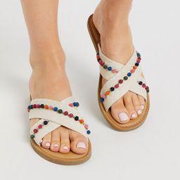 TOMS viv pom sandals in natural-Beige | ASOS (Global)