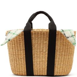Muuñ - Caba Checked Mohair And Woven Straw Bag - Womens - Green Multi | Matchesfashion (UK)