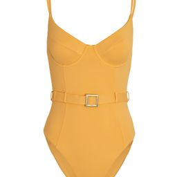 WeWoreWhat Danielle Belted One-Piece Swimsuit, Yellow P | INTERMIX