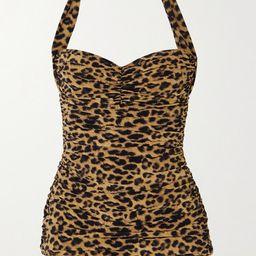 Norma Kamali - Bill Mio Ruched Leopard-print Halterneck Swimsuit - Leopard print | Net-a-Porter (US)