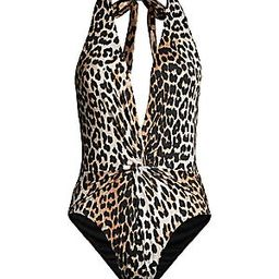 Ganni Recycled Fabric Leopard One-Piece Swimsuit - Leopard - Size 36 | Saks Fifth Avenue