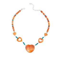 Mine Finds by Jay King Jay King Turquoise and Orange Spiny Oyster Shell Heart Necklace | HSN