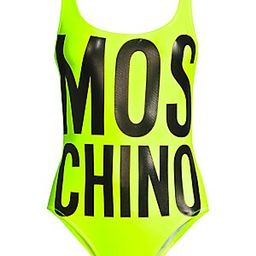 Moschino Lettered Neon Onepiece Swimsuit - Yellow - Size 4 | Saks Fifth Avenue