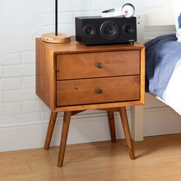 Walker Edison Furniture Company Mid Century Modern Contemporary Transitional 2-Drawer Solid Wood Car | The Home Depot