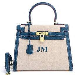 The Egerton Crossbody Denim Blue- Genuine Leather Hand Painted With Initials | Lily and Bean