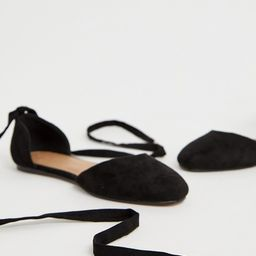 ASOS DESIGN Wide Fit Voyage tie leg ballet flats in black   ASOS (Global)