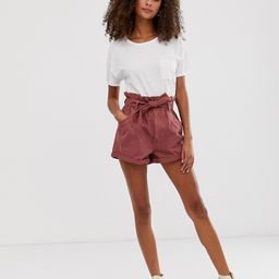 Abercrombie & Fitch denim shorts with paperbag waist-Orange | ASOS (Global)