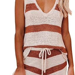 Sherrylily Womens Two Piece Outfits Summer Strappy V Neck Knit Crop Tops with Tie Waisted Beach S... | Amazon (US)