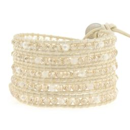 Crystal on White-Ivory Leather   Victoria Emerson