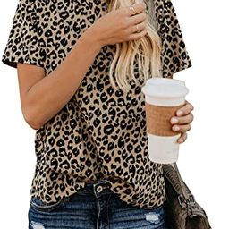 Womens Leopard Print Tops Short Sleeve Round Neck Casual T Shirts Tees | Amazon (US)