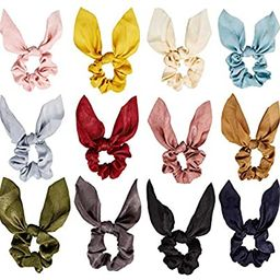 12 Pieces Hair Scrunchies Rabbit Bunny Ear Bow Bowknot Scrunchies Bobbles Elastic Hair Ties Ropes... | Amazon (US)