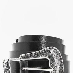 Womens Slim Western Buckle Boyfriend Belt - Black - One Size | Boohoo.com (US & CA)