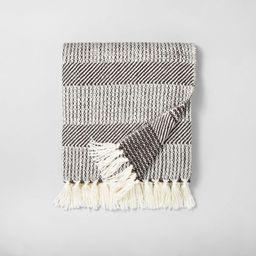 Allover Stripe Twill Throw Blanket Railroad Gray / Sour Cream - Hearth & Hand™ with Magnolia   Target