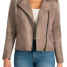 Quilted Panel Faux Suede Moto Jacket | Nordstrom