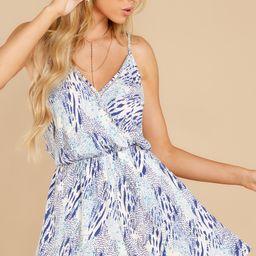 Making It Up Blue Multi Print Romper | Red Dress