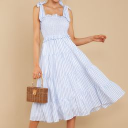 Lucky Enough Blue Multi Stripe Midi Dress | Red Dress