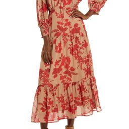 Floral Long Sleeve Tiered Midi Dress   Nordstrom
