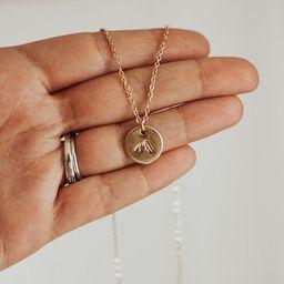 Minimalist necklace, mountain necklace, encouragement necklace, gold disc necklace, heartfelt gif... | Etsy (US)