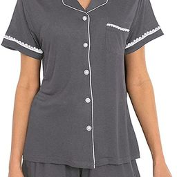 Espoir Summer Short Sleeve Pajama Set 2 Pieces Shorts Pajamas Set | Amazon (US)