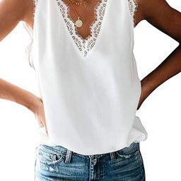 Women's V Neck Lace Trim Tank Tops Casual Loose Sleeveless Blouse Shirts   Amazon (US)