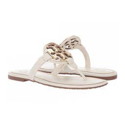 Tory Burch Women's Sandals Bleach/Gold - Bleach & Goldtone Logo Miller Leather Sandal   Zulily