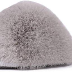 LongBay Women's Fuzzy Faux Fur Memroy Foam Flat Spa Slide Slippers Open Toe House Shoes Sandals | Amazon (US)