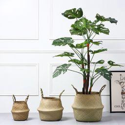 SUPERHOMUSE Seagrass Wickerwork Basket Rattan Foldable Hanging Flower Pot Planter Woven Dirty Lau... | Walmart (US)