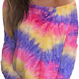 Women's Off Shoulder Tops Long Sleeve Printed Pullover Sweatshirt Tie Dye Shirts   Amazon (US)