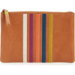 The Leather Pouch Clutch: Embroidered Rainbow Stripes Edition | Nordstrom