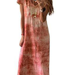 Women's Elegant Fashion Short Sleeve V-Neck Loose Tie-Dye Printing Long Dress | Walmart (US)