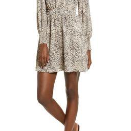 Leopard Print Smocked Long Sleeve Minidress | Nordstrom