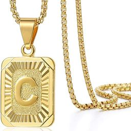 Initial Letter Pendant Necklace Mens Womens Capital Letter Yellow Gold Plated A Z Stainless Steel... | Amazon (US)