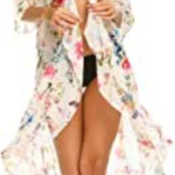 Women's Kimono Chiffon Cardigan High Low Long Floral Beach Swim Bikini Cover Up   Amazon (US)