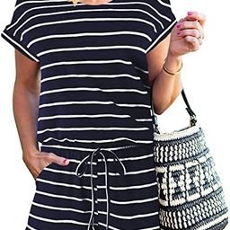 ANRABESS Women's Summer Short Sleeve Striped Jumpsuit Rompers with Pockets Short Pant Rompers Pla... | Amazon (US)