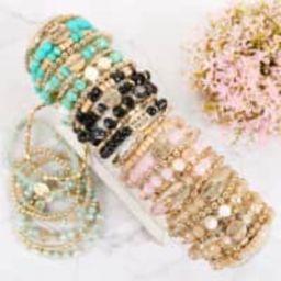 Message Engrave Multi Bead Bracelet Set | Jane | Jane