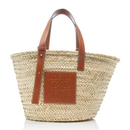 Loewe Leather-Trimmed Woven Raffia Medium Basket Bag | Moda Operandi Global
