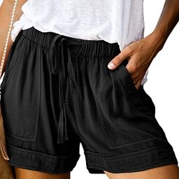 BTFBM Women Casual Shorts Plain Solid Color Elastic Waist Drawstring Pockets Summer Beach Lightwe... | Amazon (US)