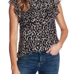 Leopard Print Flutter Sleeve Blouse   Nordstrom