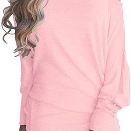 LACOZY Women's Off Shoulder Long Sleeve Oversized Pullover Sweater Knit Jumper Loose Tunic Tops | Amazon (US)