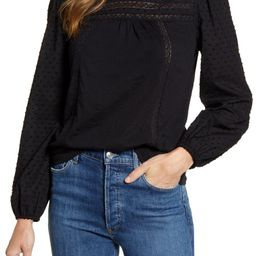 Pintuck Lace Detail Long Sleeve Cotton Blouse   Nordstrom
