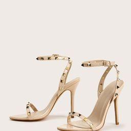 Studded Decor Ankle Strap Stiletto Heels   SHEIN