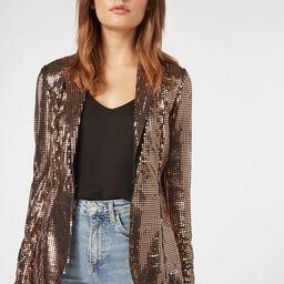 Shawl Collar Sequin Jacket   JustFab