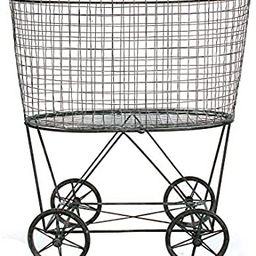 Creative Co-op Vintage Metal Laundry Basket with Wheels, Silver | Amazon (US)