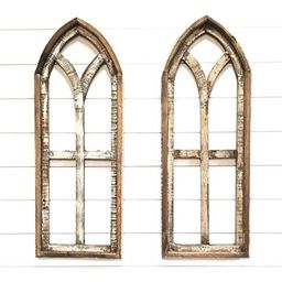Farmhouse Wooden Wall Windows Small Ivory Point Arches Set of 2 - Rustic Cathedral Wood Windows- ... | Amazon (US)