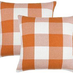 4TH Emotion Set of 2 Farmhouse Buffalo Check Plaid Throw Pillow Covers Cushion Case Cotton Linen ... | Amazon (US)